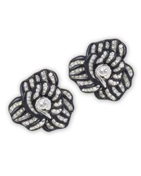 Kenneth Jay Lane | Black Highlights Crystal Flower Clip Earring | Lyst