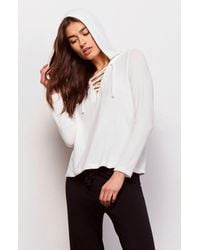 BB Dakota - White Amya Lace Up Hoodie - Lyst