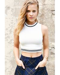 BDG - White Dion Cropped Top - Lyst