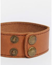 ASOS | Brown Leather Cuff Bracelet In Tan for Men | Lyst