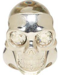 Alexander McQueen - Metallic Silver Perspex Skull Ring - Lyst