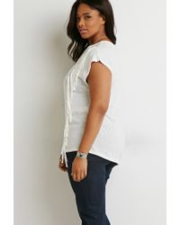 Forever 21 | Natural Plus Size Fringe-trim Tee | Lyst