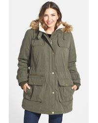 DKNY | Green Faux Fur Trim Down & Feather Parka | Lyst
