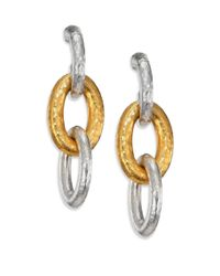 Gurhan | Metallic Hoopla 24k Yellow Gold & Sterling Silver Galahad Long Drop Hoop Earrings | Lyst