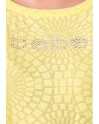 Bebe   Yellow Logo Burnout Boxy Tee   Lyst