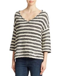 Free People | Black Spells Trouble Stripe Pullover | Lyst