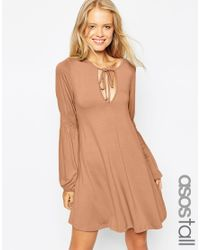 ASOS | Brown Tall Swing Dress With Shirred Sleeves | Lyst
