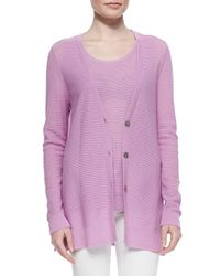 Belford - Pink Long V-neck Textured Cardigan - Lyst