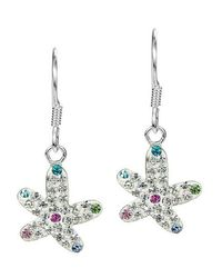 Aeravida | Metallic Star In The Sea White Crystal Encrusted Sterling Silver Earrings | Lyst