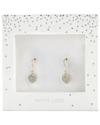 John Lewis - Metallic Pave Encrusted Heart Drop Earrings - Lyst