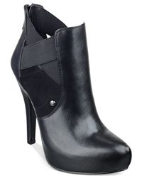 G by Guess - Black Gregor Platform Booties - Lyst