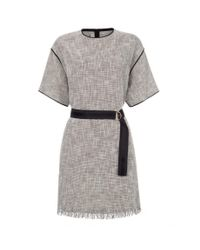 Paul Smith - Women'S Black And White Textured-Weave T-Shirt Dress - Lyst