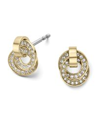 Michael Kors | Metallic Pave Rings Delicate Stud Earrings | Lyst