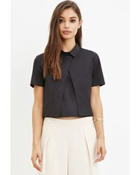 Forever 21 - Black Layered Boxy Collared Top - Lyst