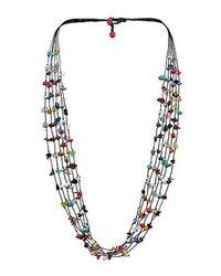 Aeravida - Blue Handmade 6 Strands Multi Stone Wax Rope Necklace - Lyst