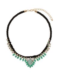 Mikey - Green Hanging Crystal Fillagary Rope Necklace - Lyst