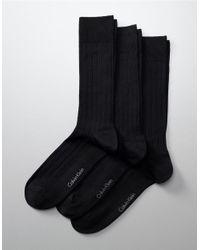 Calvin Klein | Black Ribbed Dress Socks for Men | Lyst