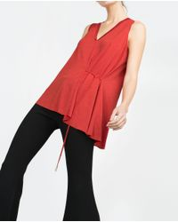 Zara | Orange Top With Tie Waist | Lyst