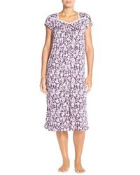 Eileen West | Purple 'autumn Rose' Floral Print Short Nightgown | Lyst