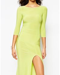Boohoo - Yellow Side Split Slinky Maxi Dress - Lyst