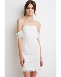 Forever 21 | Natural Off-the-shoulder Eyelash Lace Dress | Lyst