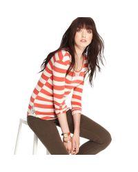 Maison Jules - Red Longsleeve Scoopneck Striped Lace - Lyst