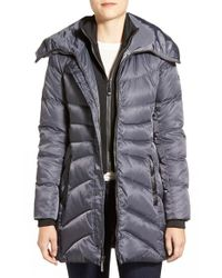 Vince Camuto | Gray Down & Feather Fill Coat With Inset Vest | Lyst