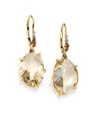 Alexis Bittar Fine | Metallic Honey Gold Marquis Citrine, Grey Diamond & 18k Yellow Gold Drop Earrings | Lyst