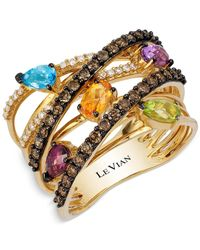 Le Vian | Multicolor Multi-stone And Diamond Crisscross Ring In 14k Gold (1-9/10 Ct T.w.) | Lyst