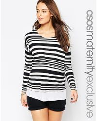 ASOS | Black Nursing Double Layer Top In Varigated Stripe | Lyst