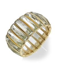 INC International Concepts - Metallic Gold-tone Crystal Baguette Stretch Bracelet - Lyst