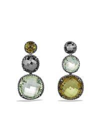 David Yurman - Green Chatelaine Triple Drop Earrings With Olive Quartz, Prasiolite And Hematine - Lyst