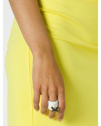 Patrizia Pepe | White Costume Jewellery Band-Style Ring With Fly | Lyst