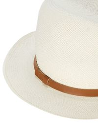 Hat Attack - White Original Leather Trim Panama Hat - Lyst