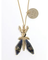 Patrizia Pepe | Black Costume Jewellery Necklace With Jewel Fly In Resin | Lyst