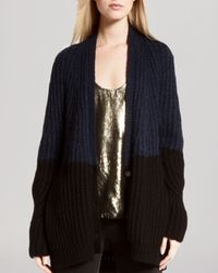 Halston - Blue Cardigan - Color Block - Lyst