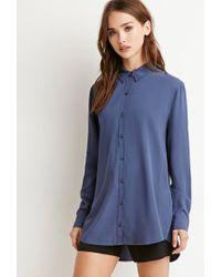 Forever 21 - Blue Vented-back Shirt - Lyst