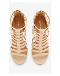 Express | Natural Faux Lizard Wedge Cage Sandal | Lyst