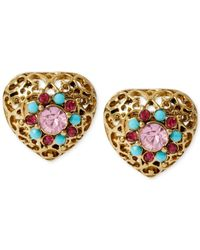 Betsey Johnson - Metallic Gold-Tone Filigree Heart Stud Earrings - Lyst