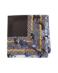 Etro - Blue Jungle Pattern Silk Pocket Square for Men - Lyst
