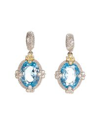 Judith Ripka | Blue Topaz White Sapphire Gold & Sterling Silver Estate Earrings | Lyst