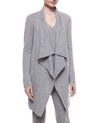 Donna Karan - Gray Drape-front Cashmere-blend Coat - Lyst