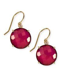 KALAN by Suzanne Kalan - Red 14K Yellow Gold Wire Drop Earrings In Crimson Topaz - Lyst