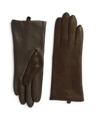 Lord & Taylor - Brown Leather Tech Gloves - Lyst