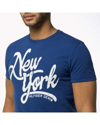 Tommy Hilfiger | Blue Cotton Crew Neck T-shirt for Men | Lyst
