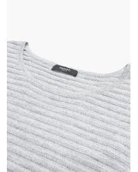 Mango | Gray Stripe Textured Sweater | Lyst