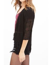 Forever 21 - Black Fringed Open-front Cardigan - Lyst