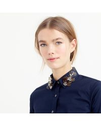 J.Crew | Blue Collection Perfect Shirt With Embellished Collar | Lyst