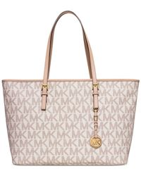 Michael Kors | Natural Jet Set Travel Medium Top Zip Multifunction Tote | Lyst