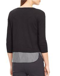 Lauren by Ralph Lauren - Black Petite Mock Layered Crewneck Sweater - Lyst